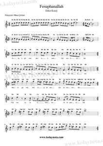 Fesuphanallah - Kolay Notası