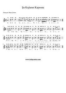 Şu Kışlanın Kapısına - Kolay Bağlama Notası