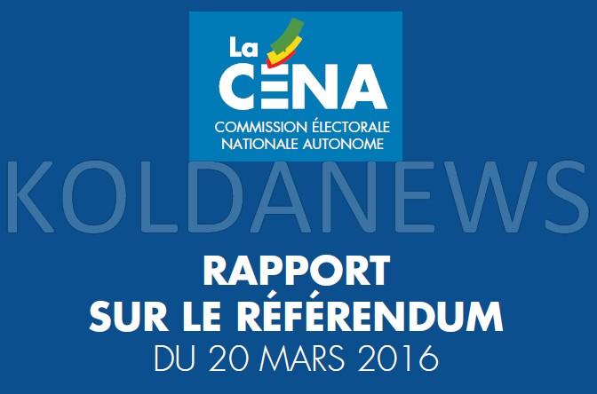 Télécharger le Rapport intégral de la CENA sur le référendum du 20 mars 2016