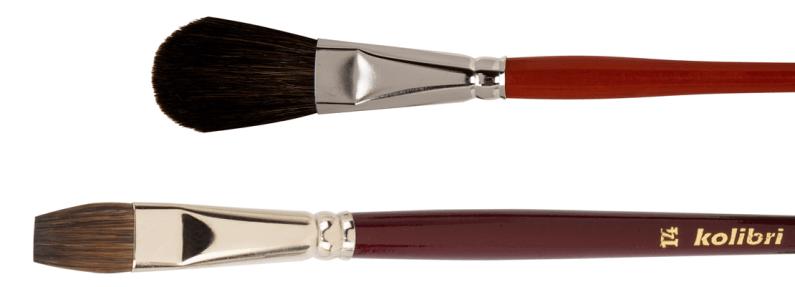 English wash brushes and flat wash brushes