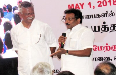 Mr Bharathi KrishnaKumar and Mr Arunachalam addressing the MNM party members in Coimbatore