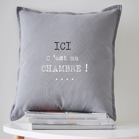ma chambre coussin 40x40 cm gris coton imprime blanc