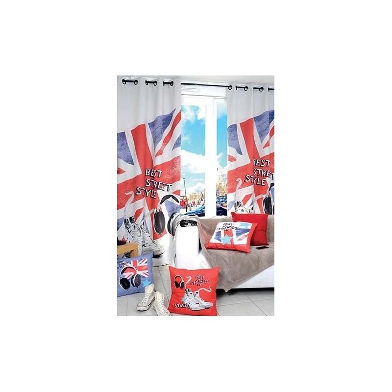 voilage union jack 135x250 cm 8 oeillets decoration chambre adolescent london