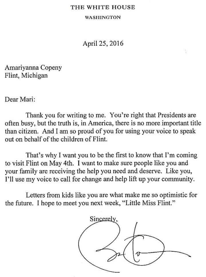 Letter To Barack Obama, Flint Michigan Letter, Amariyanna Copeny, KOLUMN Magazine, Kolumn