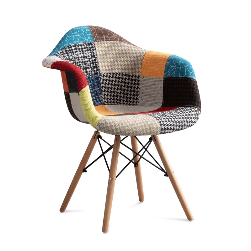 chaise scandinave patchwork multicolore