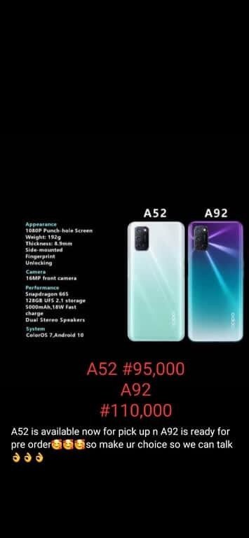 Best Oppo A52 & A92 For Sale In Abuja Nigeria