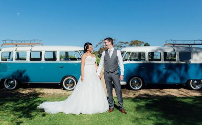 Bride & Groom in front of classic 1960s Volkswagen Kombi Vans restored for wedding day car hire VW Kombi Van Photo Gallery