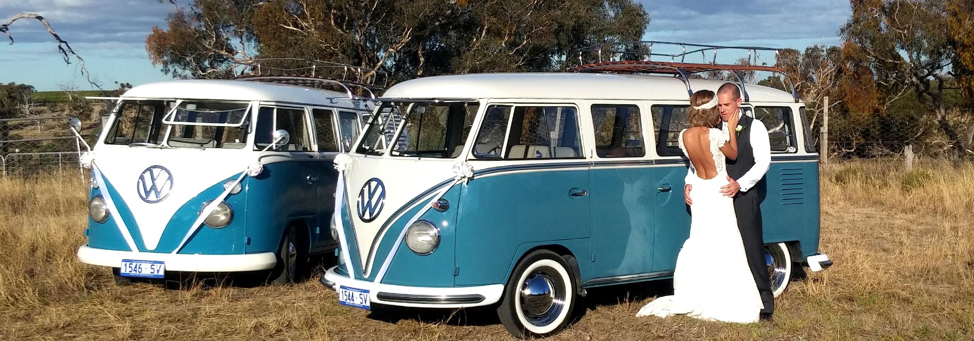 Two Blue & White Vintage VW Kombi Vans restored by Kombi Cruise Adelaide Bride & Groom kissing nearby on their wedding day