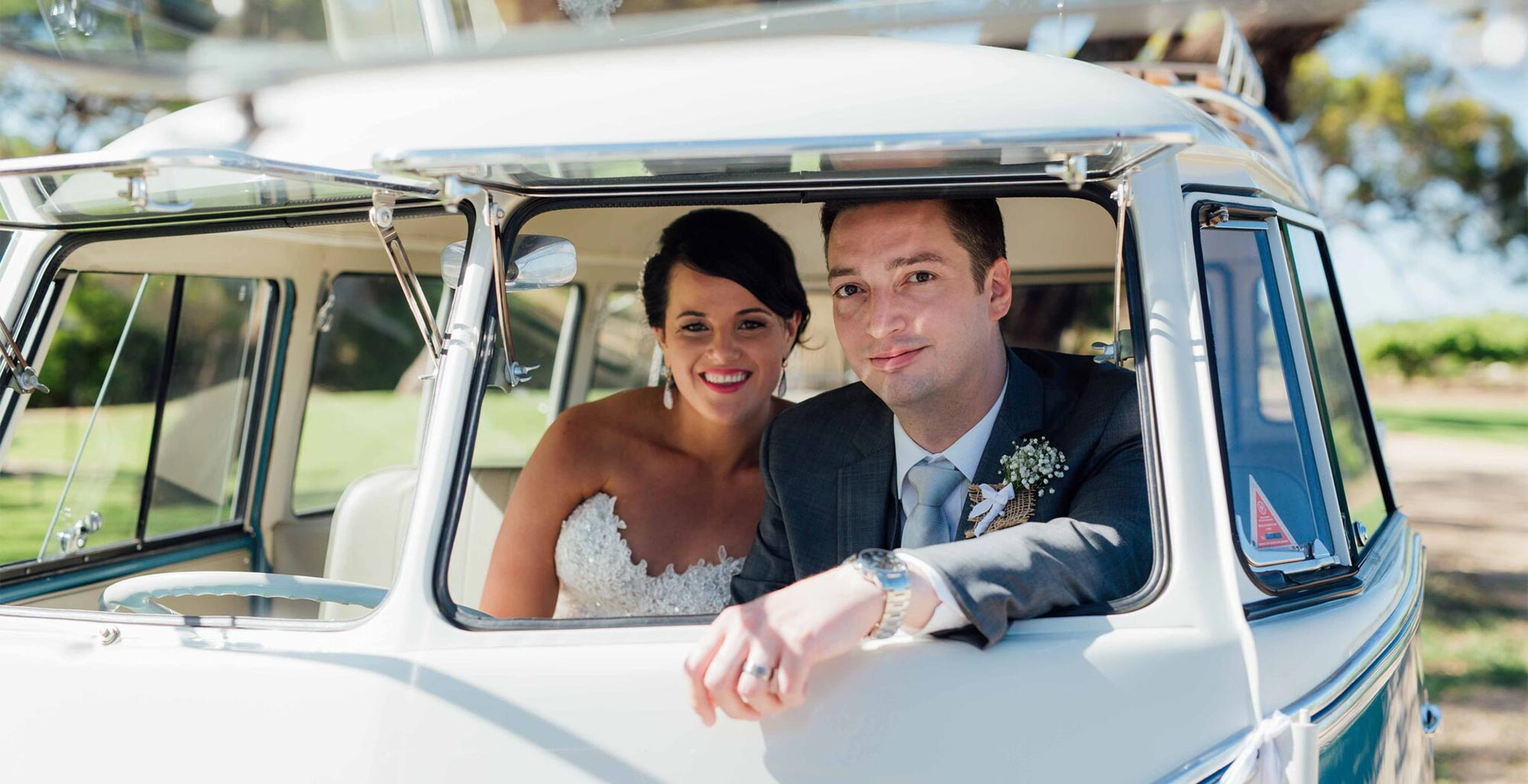 Bride & Groom on their Wedding Day in restored, vintage Volkswagen VW Kombi Van with Kombi Cruise, Adelaide's Wedding & Events Car Hire Company