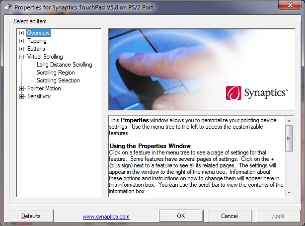 Synaptic pointing device driver windows 7 32 bit | SYNAPTIC