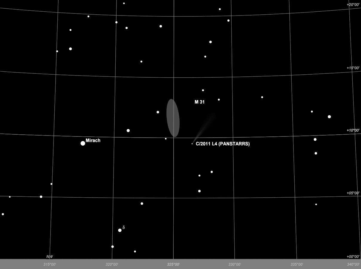 Komet Panstarrs bei der Andromeda-Galaxie am Abend des 03.04.2013