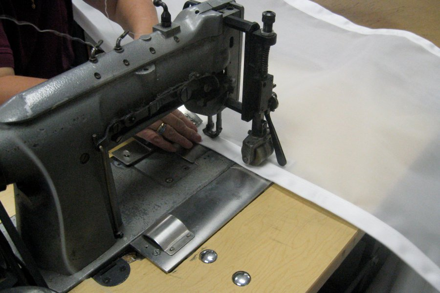 Sewing filter belts