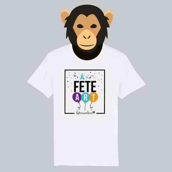 T-shirt blanc à manches courtes Fête Art / Fêtard