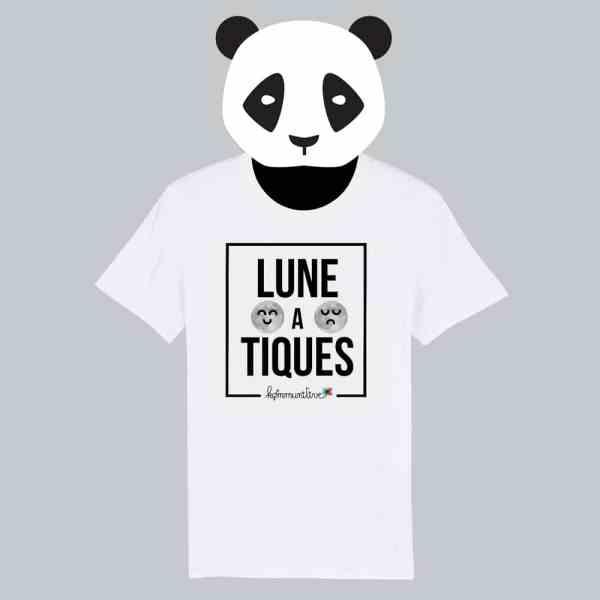 T-shirt blanc à manches courtes Lune A Tiques / Lunatique