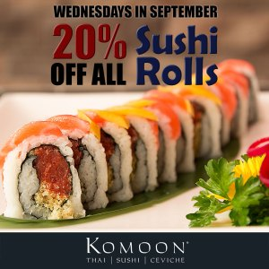 Save 20% off all sushi rolls