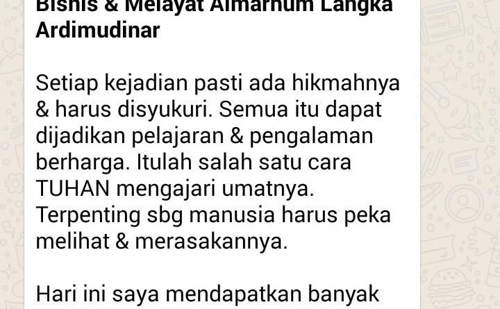 Dahsyatnya Komunikasi, Hikmahnya dari Jakarta ke Yogyakarta Duduk di Bisnis & Melayat Almarhum Langka Ardimudinar