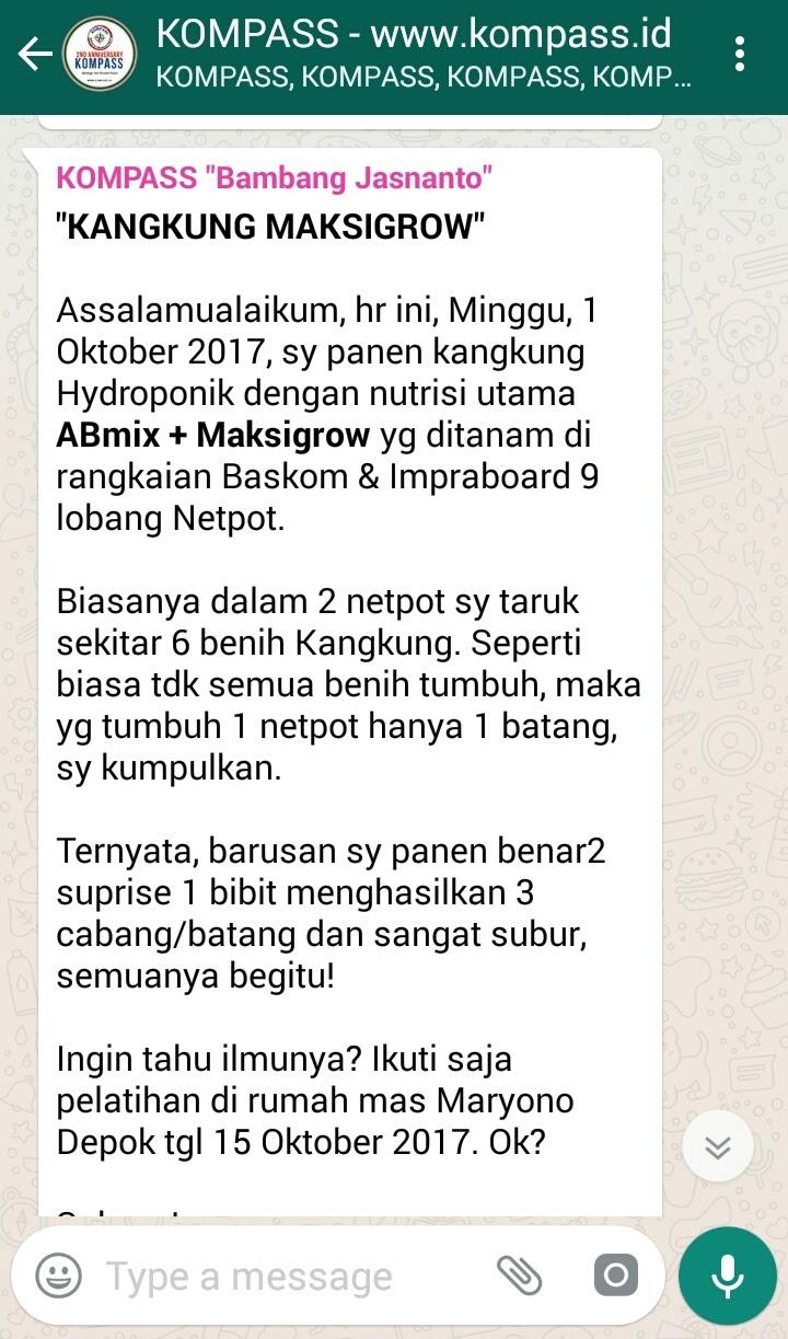 Penyampaian Artikel Hidroponik Bambang Jasnanto melalui KOMPASS