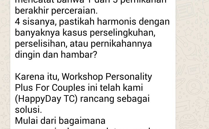 Workshop Personality Plus for Couple Acara 2 Hari 1 Malam