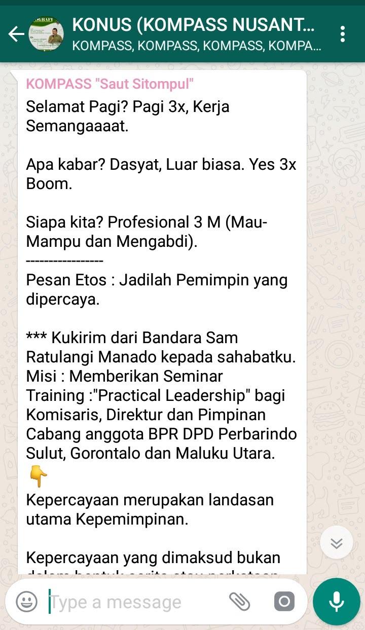 Penyampaian Saut Sitompul Pakar ETOS KERJA Indonesia 20 November 2018 melalui WAG KOMPASS Nusantara