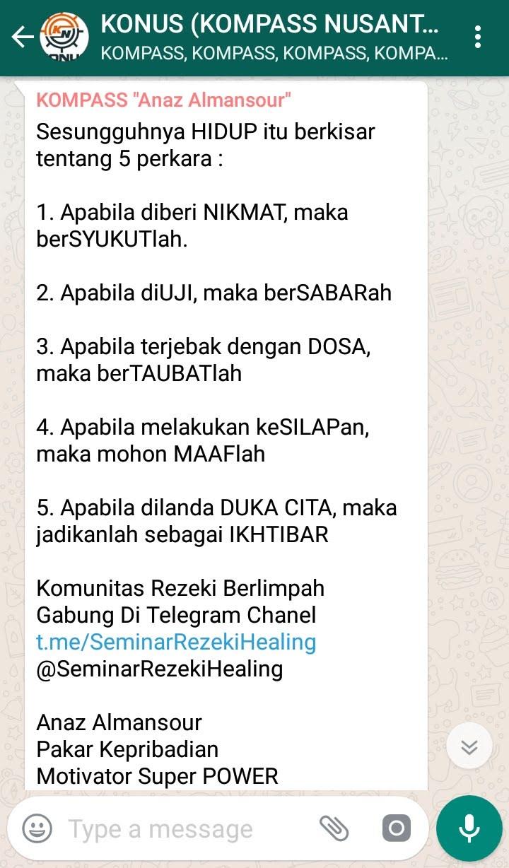 Penyampaian Anaz Almansour Pakar KEPRIBADIAN Indonesia 29 Desember 2018 melalui WAG KOMPASS Nusantara