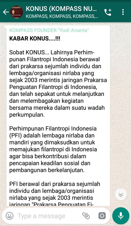 Penyampaian oleh Founder Yudi Ananta 3 Juli 2019 melalui WAG KOMPASS Nusantara