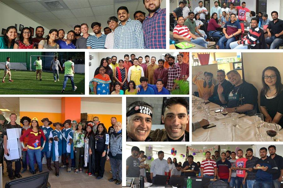 collage of photos of the Komprise team enjoying social events