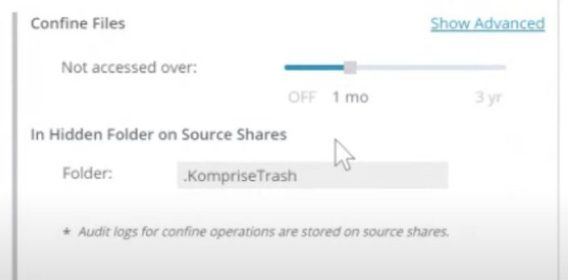 Plan Tab in Komprise Intelligent Data Management, Choosing to Move the Group Identified as Confine Files Not Accessed in Over 1 Month to the Folder .KompriseTrash