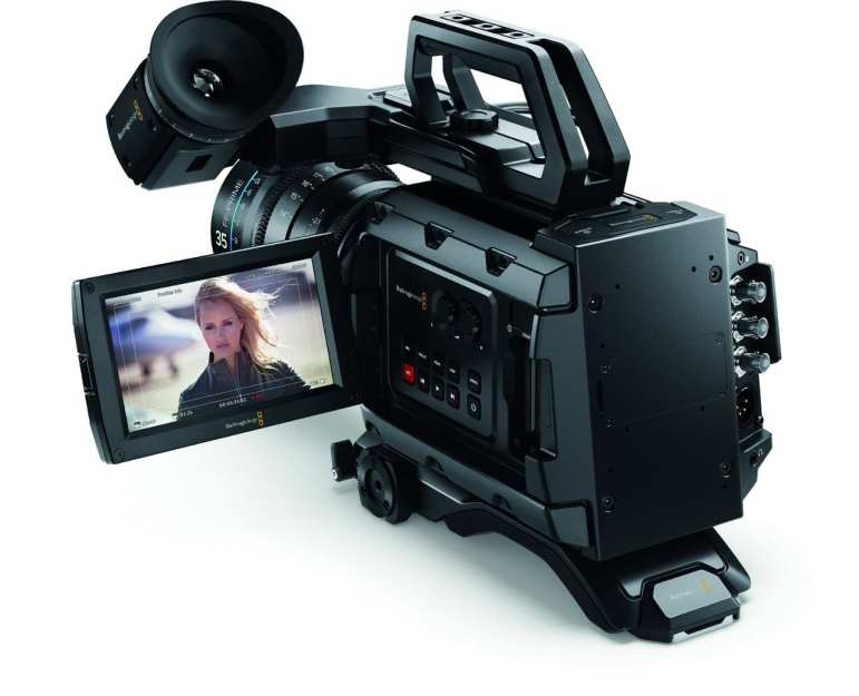 The back of the Blackmagic URSA Mini professional cinema camera.