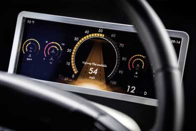 The dashboard of the Freightliner Inspiration, the first truck to receive its own license to drive in the U.S. Image obtained with thanks from Daimler.