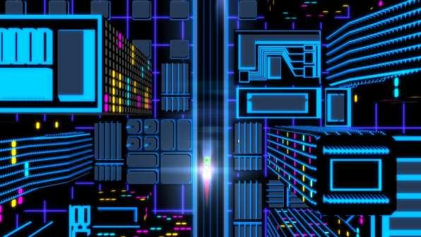Neon Drive gameplay (overhead view)