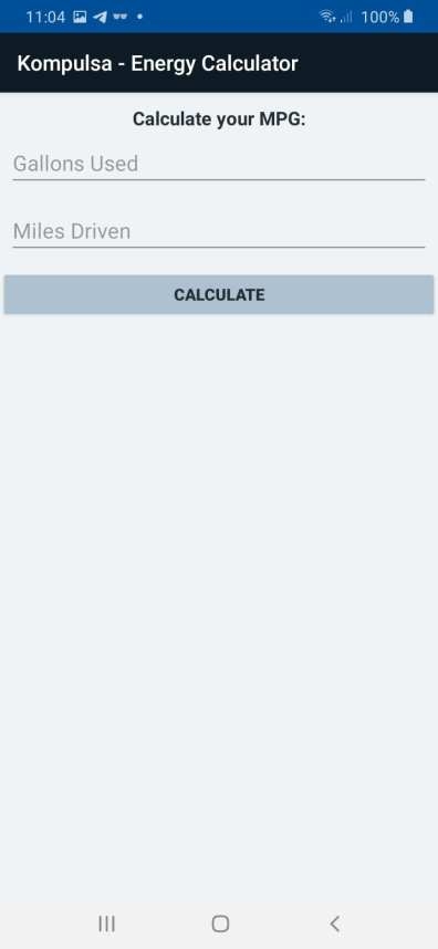 MPG Calculator Screenshot