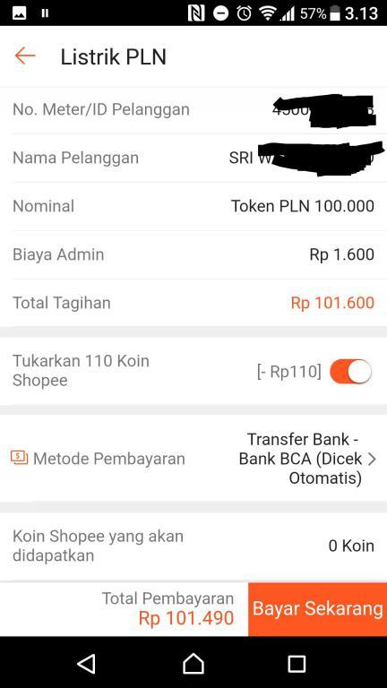 Pembayaran token listrik di shopee