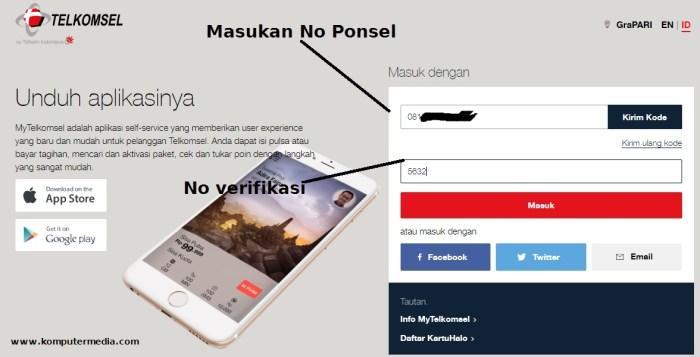 cara cek pulsa telkomsel dengan web