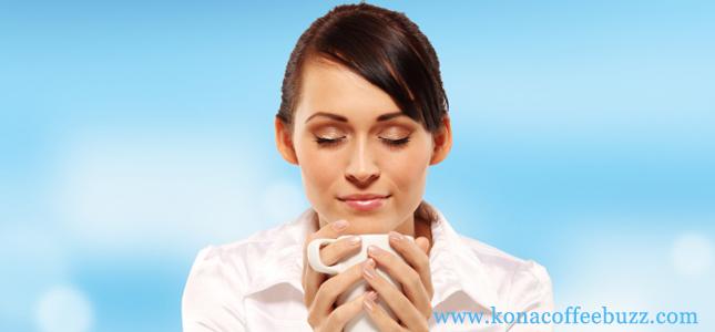 kona coffee bestsellers - woman drinking coffee