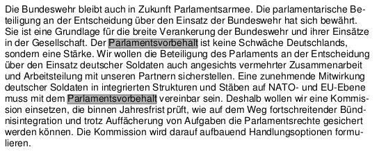Parlamentsvorbehalt - Bildquelle: Screenshot-Ausschnitt Koalitionsvertrag
