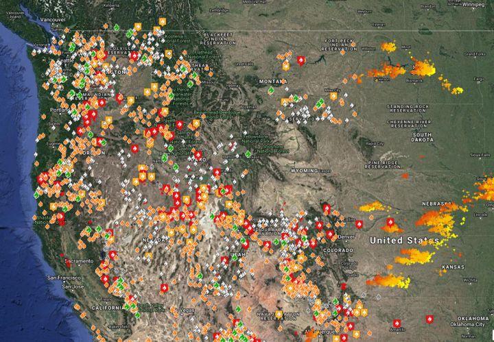Waldbrände USA - Bildquelle: Screenshot-Ausschnitt www.fireweatheravalanche.org