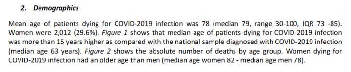 Italien Durchschnittsalter Covid-19-Verstorbene - Bildquelle: Screenshot-Ausschnitt PDF