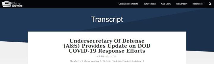 Undersecretary Of Defense Transkript - Bildquelle: Screenshot-Ausschnitt www.defense.gov