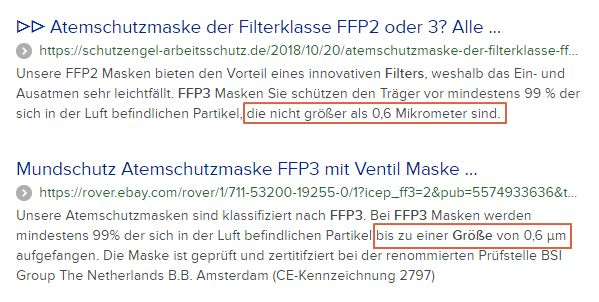 Größe Filterfähigkeit FFP3-Masken - Bildquelle: Screenshot-Ausschnitt Duckduckgo-Suche