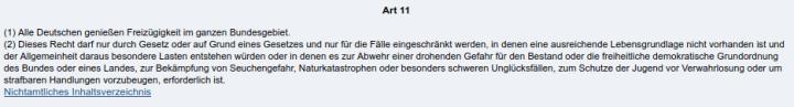 GG Artikel 11 - Bildquelle: Screenshot-Ausschnitt www.gesetze-im-internet.de