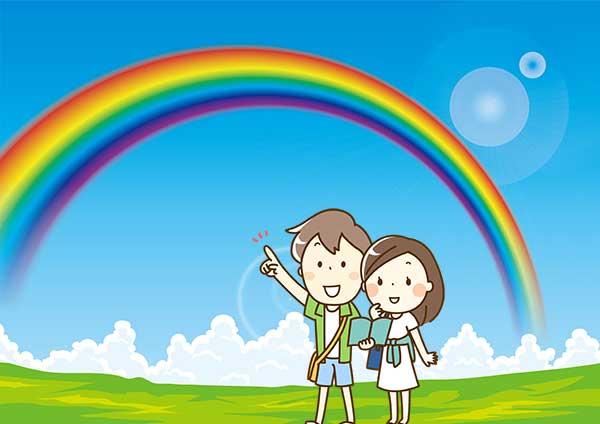 カップルで虹を見ている