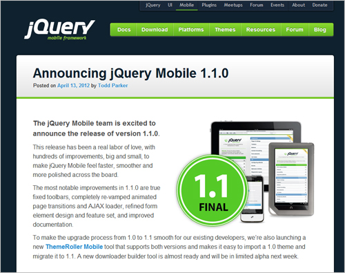jQuery Mobile 1.1.0