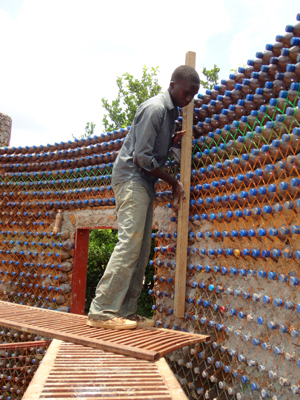 Building a house with plastic bottles