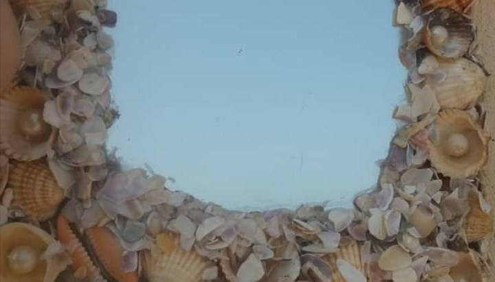مرأة ديكور صدف بحرية