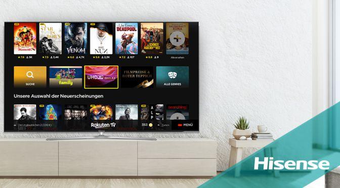 Hisense TVs jetzt mit UHD- und HDR-Inhalten via Rakuten TV