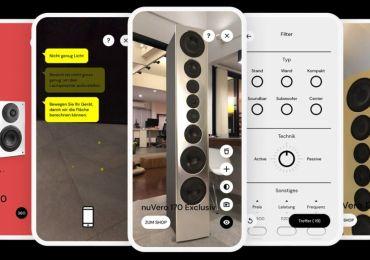 Mit der AR-App nuReality Nubert Lautsprecher virtuell nach Hause holen