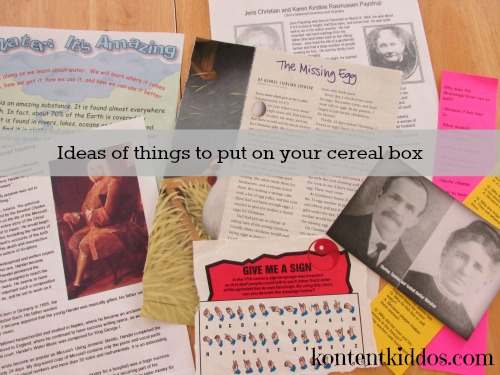 ideas of things to put on your cereal box