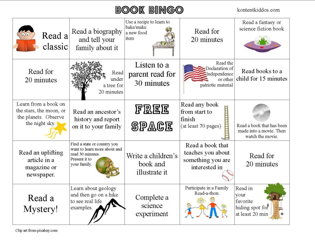 Older Elementary Book Bingo