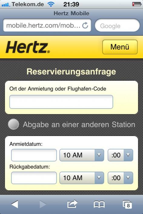 Hertz hat das klare Ziel Autos zu vermieten. Dies ist auch die erste Funktion, die man bei der mobilen Webseite zur Verfügung hat.