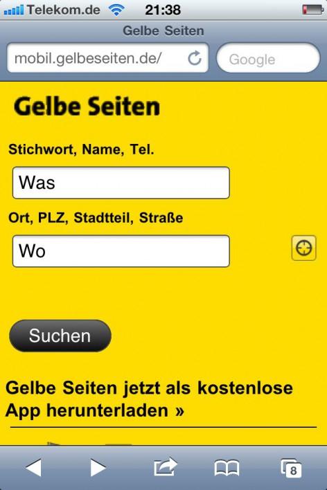 Bei der mobilen Webseite von Gelbe Seiten kann der aktuelle Ort für eine Suche verwendet werden.